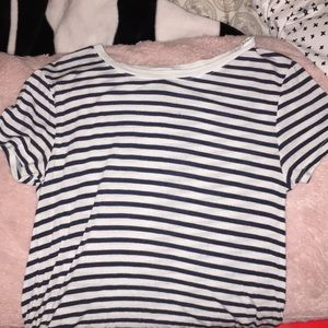 A striped navy blue and white shirt